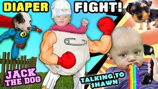 DIAPER FIGHT!!   Shawn Talks & Rolls Over  Rose's Brother, Super Jack   FUNnel Family Vlog w