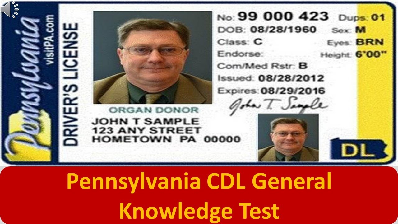 Pennsylvania Cdl General Knowledge Test Youtube