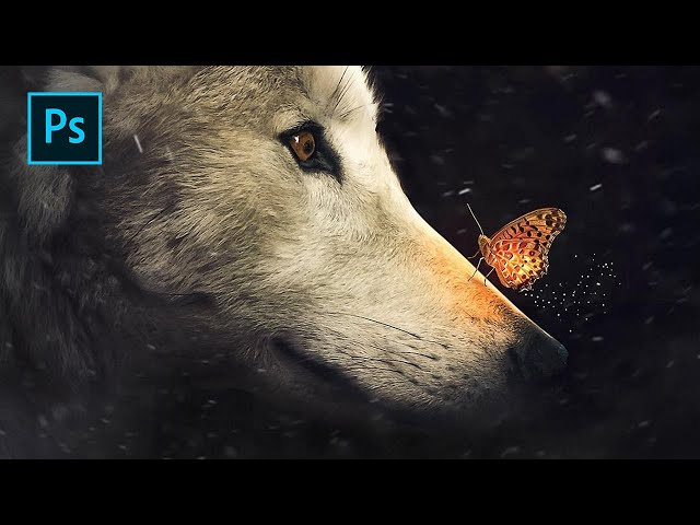 The Wolf & Glowing Butterfly - Photoshop Manipulation Tutorial