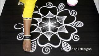 Cute rangoli  designs with 5 dots || easy & simple kolam || beautiful & pretty muggulu patterns