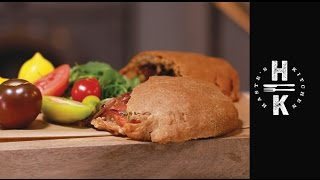 Mixed tomato calzone, spelt roll with mozzarella & fig glazed red onions