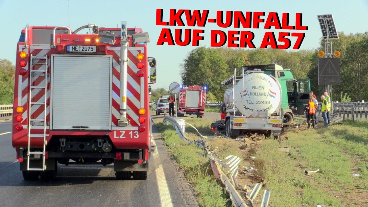 [LKW-UNFALL AUF DER A57 BEI NEUSS]- LKW durchbrach Leitplanke | Tank beschädigt | Diesel ausgelaufen