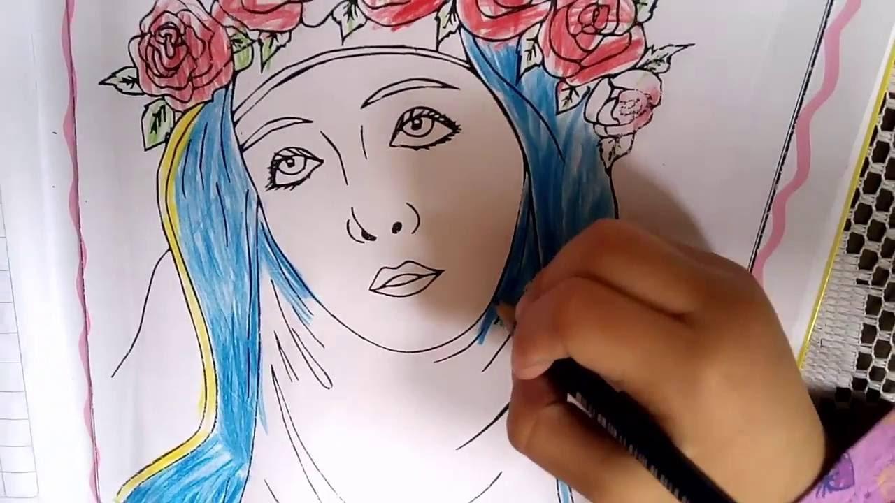 Isabella Pintando Santa Rosa De Lima Niña Pinta Mi Primer Dibujo