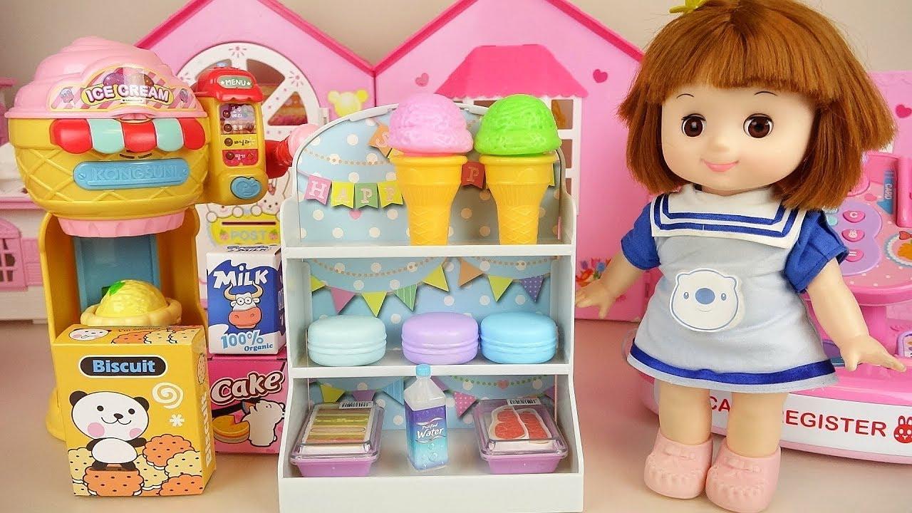 Baby doll mart and bubble cream Ice cream play Doli house