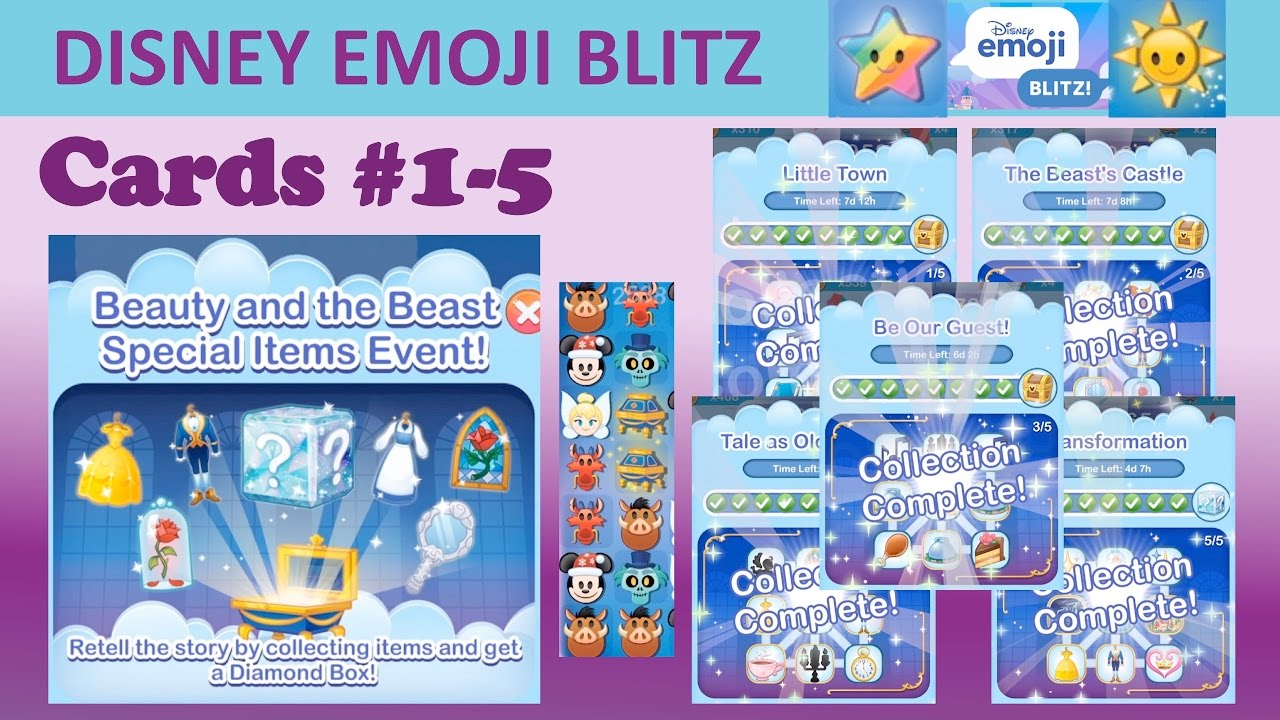 Disney Emoji Blitz Beauty And The Beast Special Items Event Cards 1 5 Completed