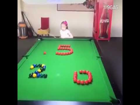 Awesome Skill Little Asian Girl Playing Pool