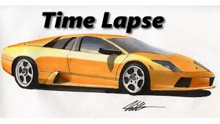 Lamborghini Murcielago Drawing (Time Lapse)