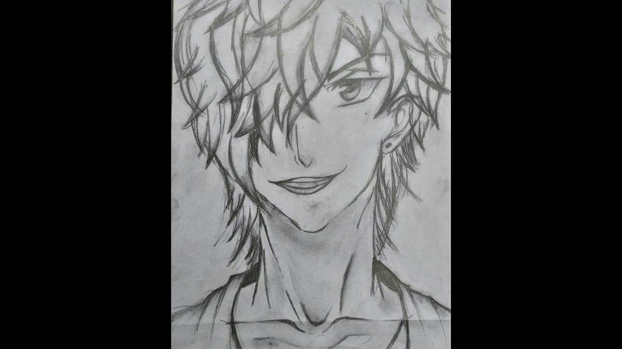 Tsubaki Male Anime Character Portrait Pencil Sketch Complete