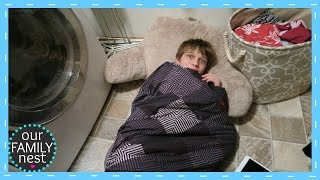 SLEEPING IN THE LAUNDRY ROOM