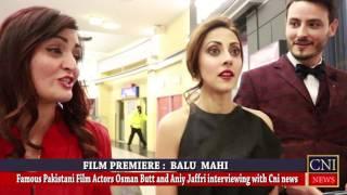 balu mahi film actors osman butt and ainy jaffri interviewing with cni news