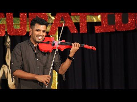 Violin magic from Balabasker and students for awareness against drugs in Kunnamkulam