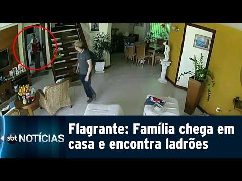 Vídeo mostra família encontrando ladrões dentro da própria casa | SBT Notícias (13/09/18)