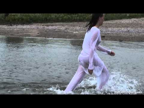 Ingrid in sheer white outfit all wet