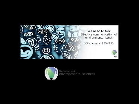 IES Webinar: 'We need to talk' - Effective communication of environmental issues