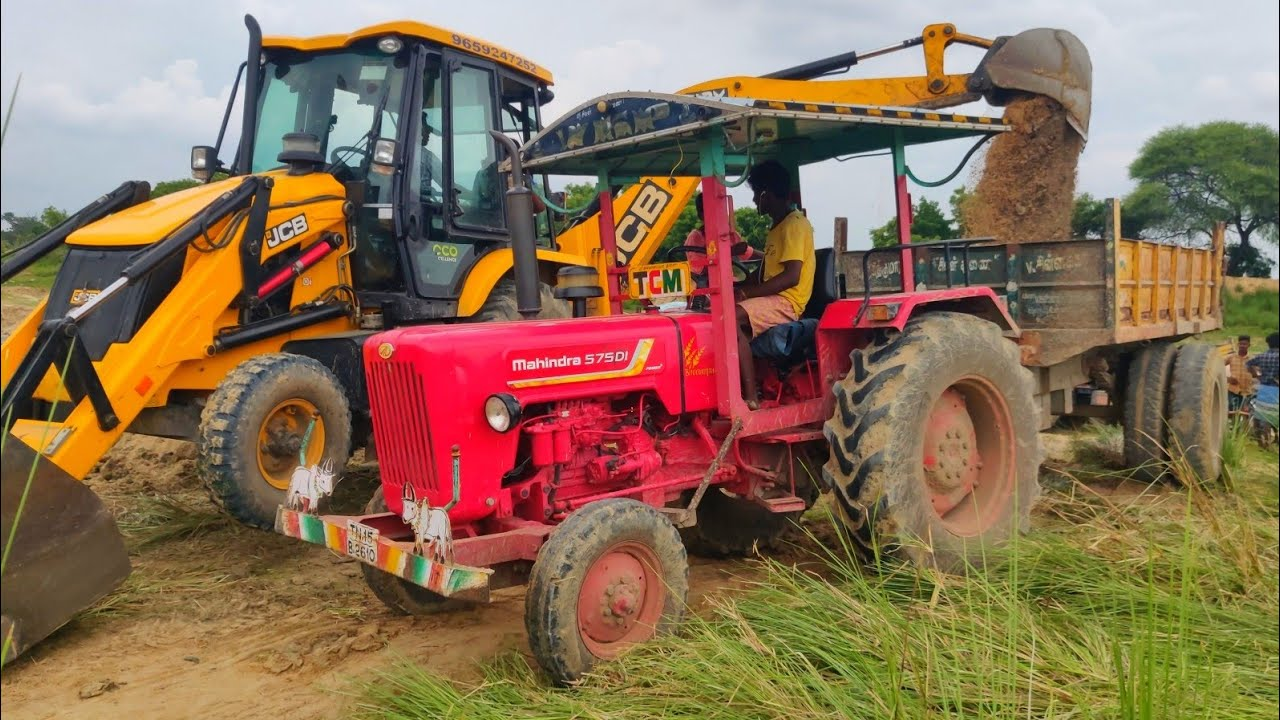 Mahindra 575 Di power plus tractor with fully loaded trolley pulling | John Deere tractor power |