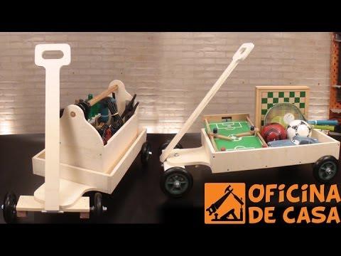 Carrinho de madeira multiuso diy oficina de casa youtube for Oficina de caixa