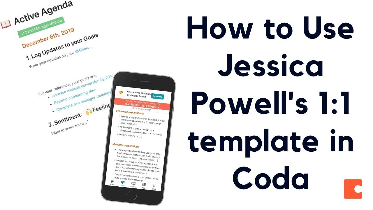 Running your One-on-One Meeting by Jessica Powell - Template & Tutorial  (Coda)