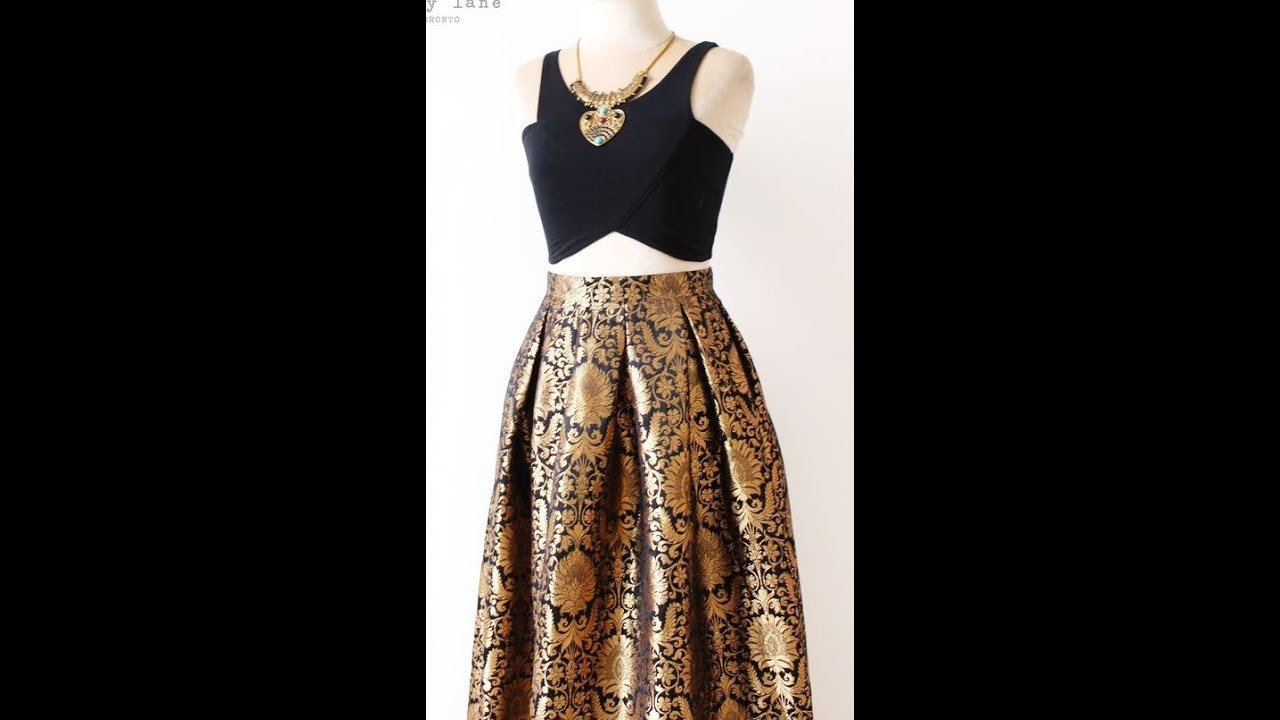 Box Pleated Brocade Long Skirt With Full Flare Tamil