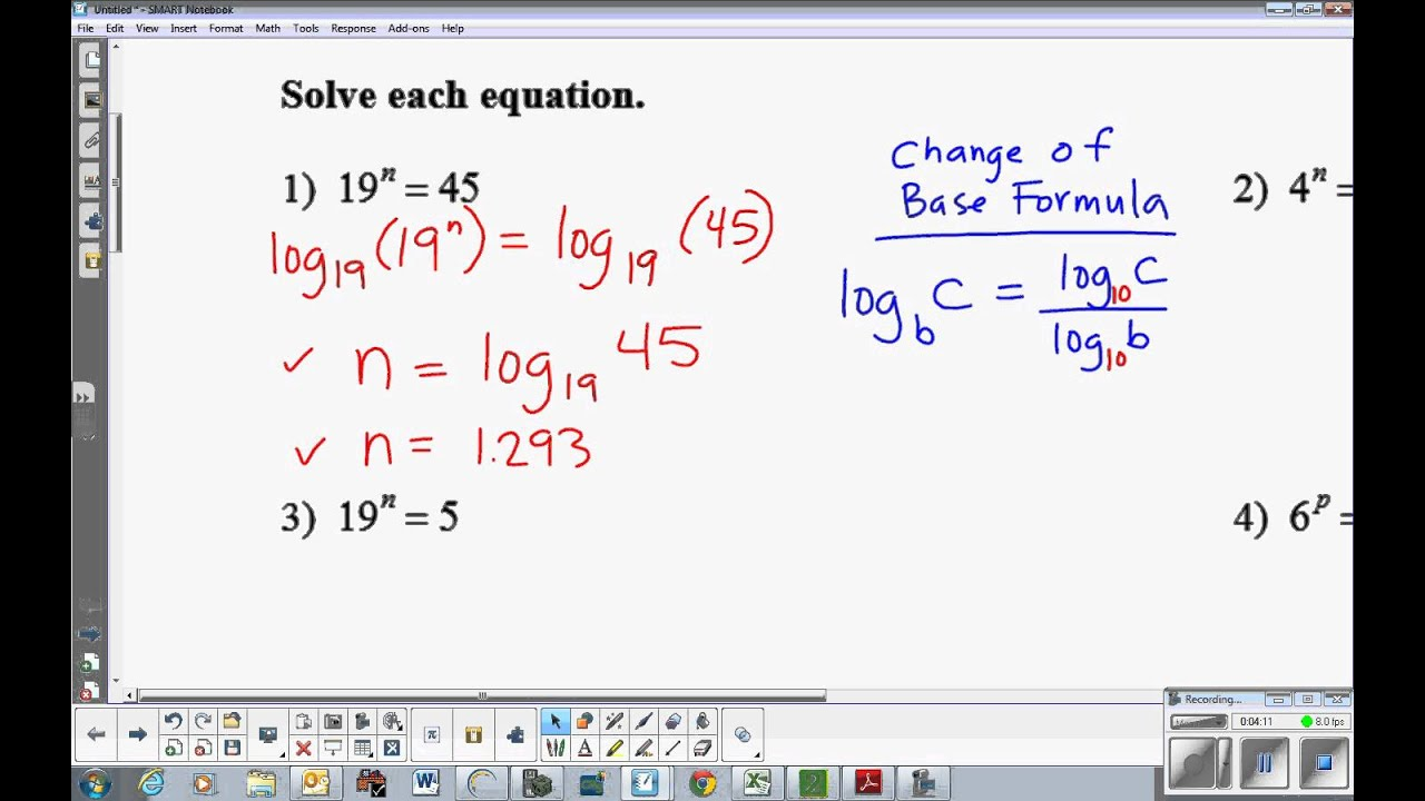 worksheet Exponential Equations Not Requiring Logarithms exponential equations requiring logarithms youtube logarithms