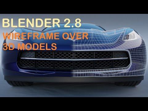 Blender 2.8 Render Wireframe Over 3D Model