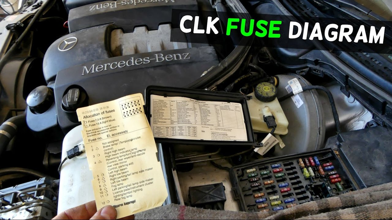 MERCEDES W208 FUSE LOCATION DIAGRAM CLK200 CLK230 CLK 320 CLK430  YouTube