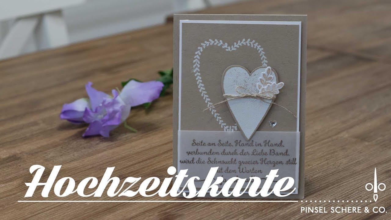 Hochzeitskarte Herz An Herz Weiss Auf Savanne Heat Embossing