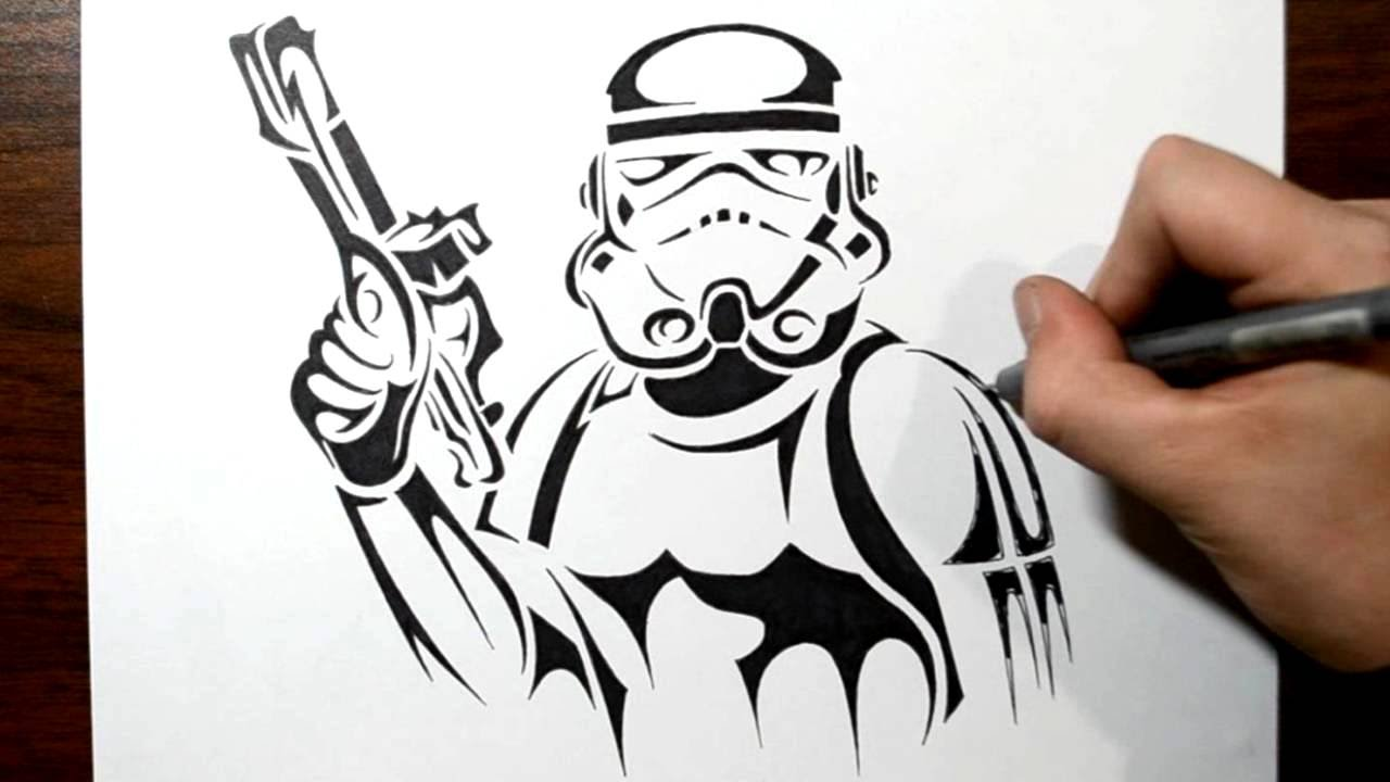 how to draw a stormtrooper tribal tattoo design style youtube. Black Bedroom Furniture Sets. Home Design Ideas