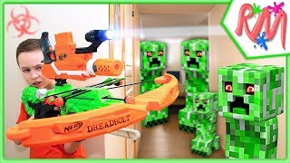 NERF WAR: Creeper INVASION Gun Game! NERF vs Minecraft in Real Life