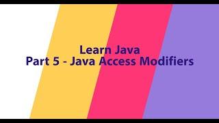 Part 5 - Java Access Modifiers