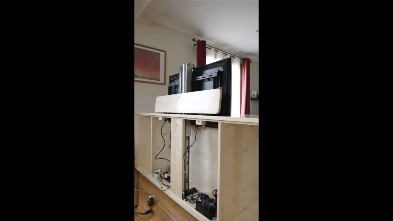 meuble avec lift tv ascenseur