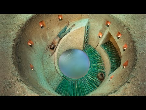 Build the most Secret Underground Slide House with Mini Pool by Ancient Skills