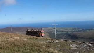 snaefell mountain railway tram no 5 arriving at the snaefell summit station