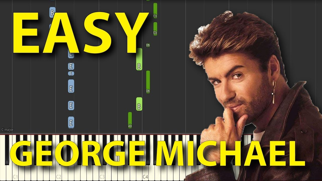 Faith George Michael EASY Piano Tutorial NORMAL speed for two hands Synthesia
