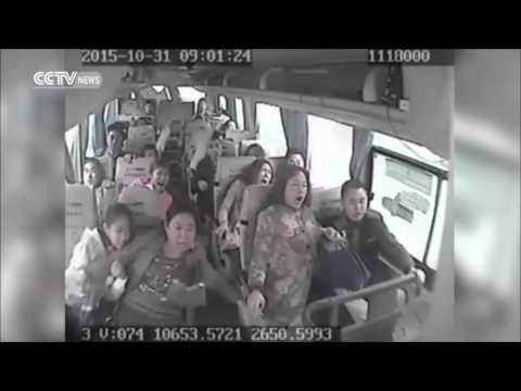 Автобус в китае. Слабонервным не смотреть!
