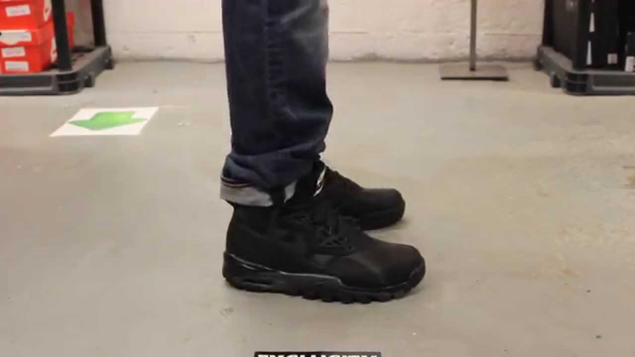 nike sc trainer sneakerboot black onfeet video at