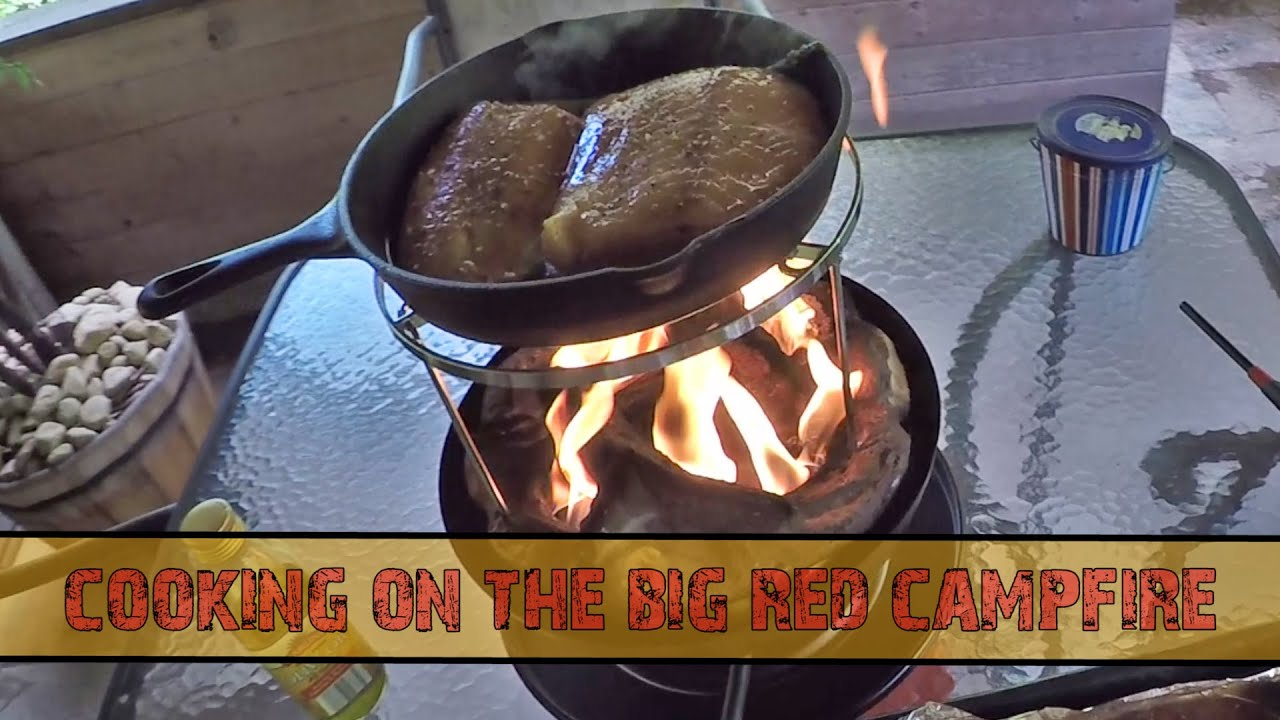 Cooking On The Big Red Campfire By Camco Testing The Cook Top With Some Halibut In The Cast Iron Youtube