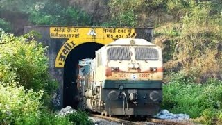 34 Trucks On Train Emerges Out Of Tunnel:Konkan Railways Unique Mode Of Transport:Indian Railways