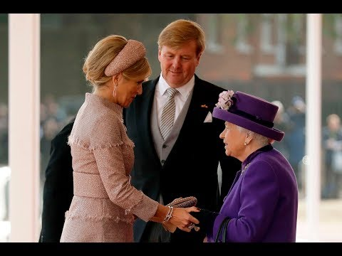 Dutch royals greet the Queen at Buckingham Palace