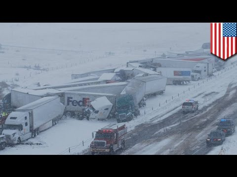 Epic 45-vehicle highway pile-up injures 27 people on Wyoming I-80
