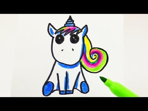 Kawaii Einhorn mit Regenbogen Mähne zeichnen für Geburtstage und Einladungen | Rainbow Unicorn