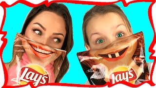 Real Food vs Potato Chips Challenge Kids React Funny Video for Kids