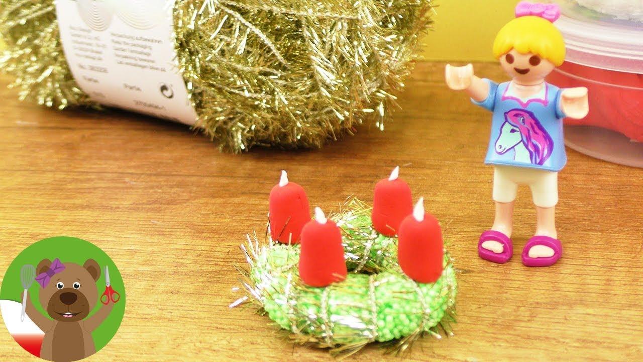 DIY Playmobil   wieniec adwentowy z masy jedwabnej i piankowej
