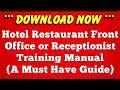 Download Hotel Restaurant Front Office Training Manual