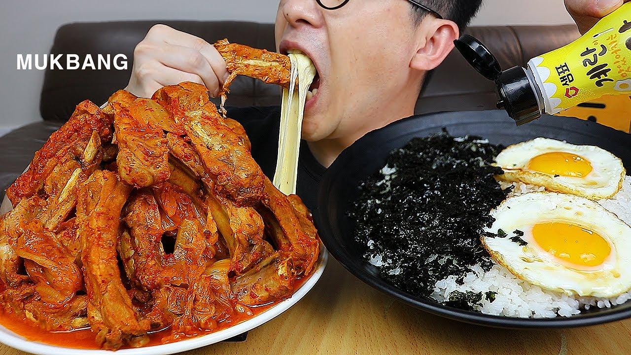 메뉴정해드려요~쉴새없이 들어간다! 탑처럼쌓은 묵은지등갈비찜과 🍳간장계란밥 요리 먹방은 못참아~ Kimchi jjim MUKBANG