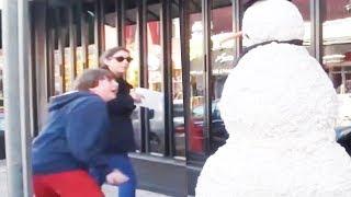Haunted Snowman Scares Them Sideways