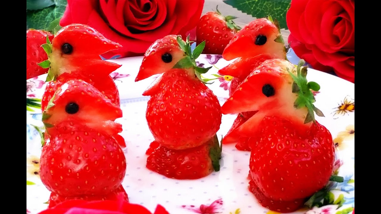 Art in strawberry penguins fruit carving garnish strawberry