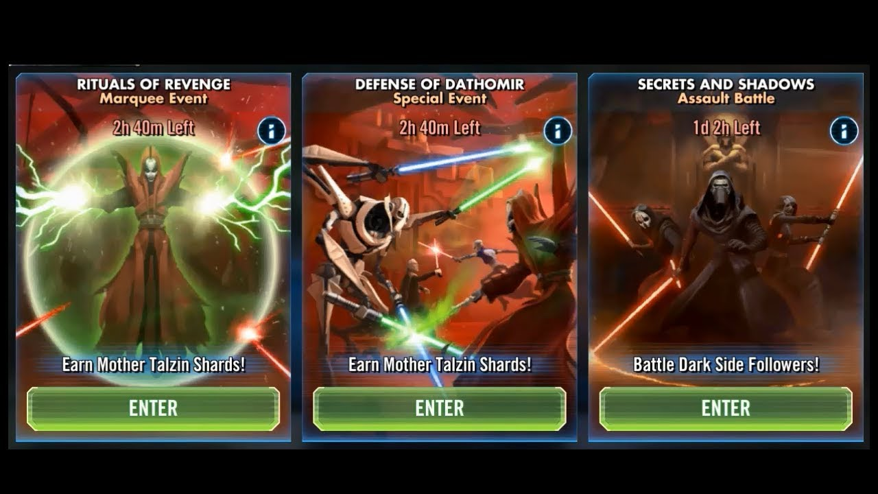 SWGOH - A Plethora of Events are upon us - Star Wars Galaxy of Heroes