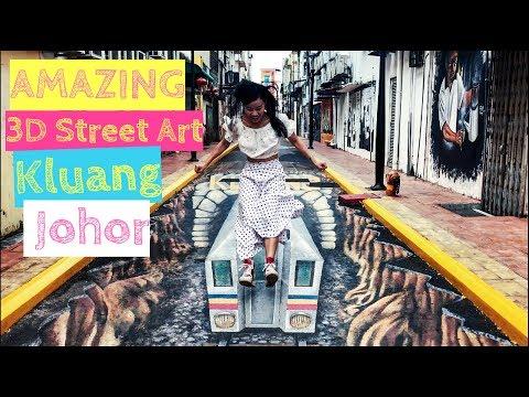 AMAZING 3D Street Art illusions in Laman Kreatif Kluang Johor 2017 [Small Girl Big World]