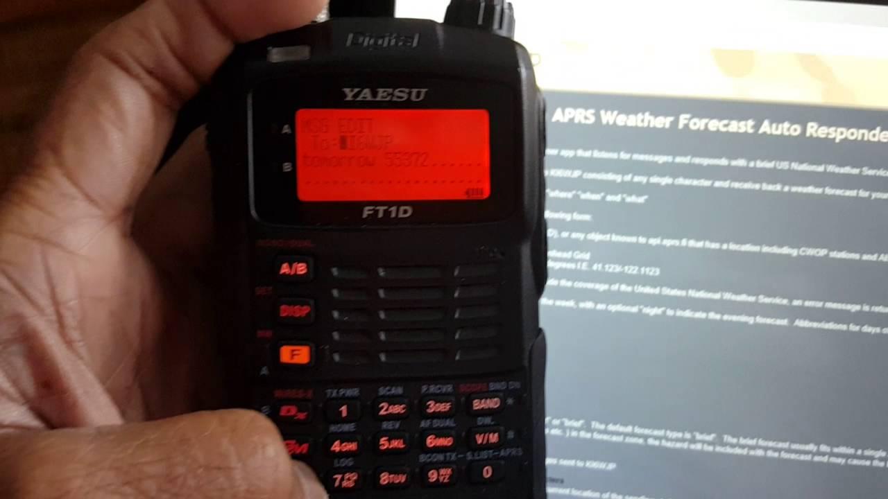 Download N0AGI testing KI6WJP's  US Weather forecast via APRS Message Service