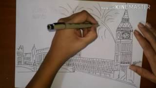 How to draw Big Ben  London ( Countdown ) วาดรูปปีใหม่ บิ๊กเบน ในลอนดอน by  kids love